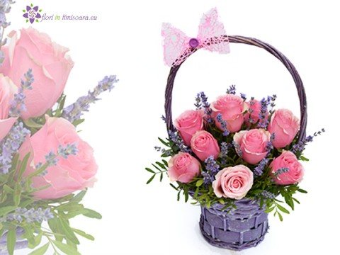 Basket with 13 roses