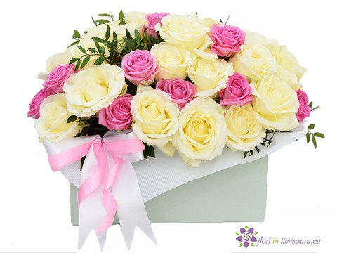 Box with 33 pink and with roses