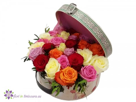 Suitcase with 27 colorful roses